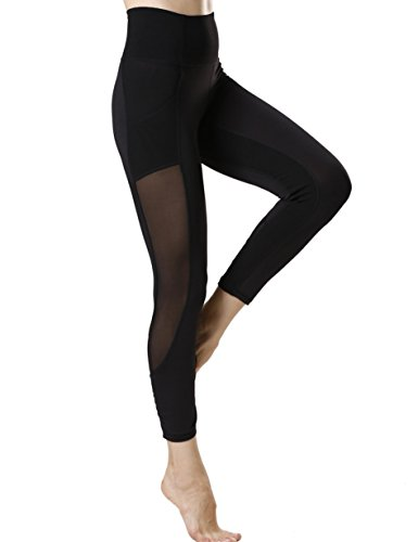 icyZone Damen Sport Leggings Yoga Pants Hohe Taille Sporthose Stretch Hose mit Tech Mesh (Black, M) (Stretch-yoga-hosen Petite)