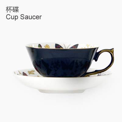 LOYWT englische schwarze Teetasse, europäischen Stil Kaffeetasse, klassischen Nachmittagstee, kleine Hauptstadt Schmetterling Knochen Porzellan Tasse, 24 Karat Gold, E -