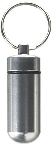 Aluminium Legierung Wasserdicht Luftdicht Fob Pille Fall Box Halter mit Schlüsselanhänger (Silber) -