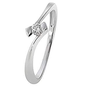Goldmaid Damen-Ring 18 Karat 750 Weißgold Verlobung Solitär 1 Brillant 0,10 ct. So R3925WG750