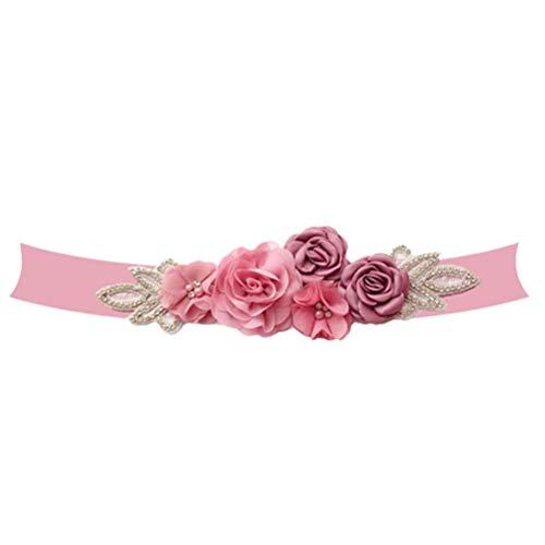 BESTOYARD Rosen Hochzeitskleidergürtel schöne Elegante Perle Diamant Dekoration für Braut Lady, rot, 270x9x1.5cm