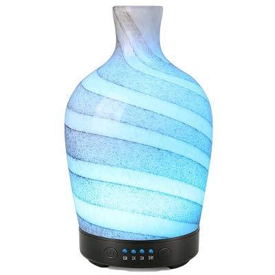 qazcg Vetro Aromaterapia Umidificatore Diffusore di Oli Essenziali Ultrasuoni Silenzioso 7 Colori Luce Home Office Soggiorno Spa YogaD