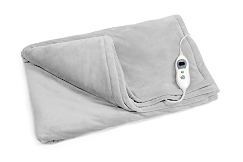 VIDABELLE 12360 Elektrische Kuschel-Wellness Heizdecke premium, maschinenwaschbar, mit 6 Temperaturstufen + Uberhitzungsschutz, hellgrau (Stoff Waschbar Wolle)