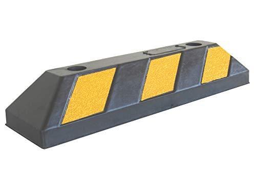 RWS-4 Gummi Radstopp-Parkplatzbegrenzung für Parkplätze und Garagen, Farbe Schwarz-Gelb, Abmessungen 55x15x10 cm (1er Pack)