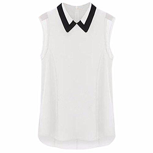 QIYUN.Z Femmes Peter Mode Chemises Sans Manches En Mousseline De Soie Blouses Ol Fille Pan De Col Blanc