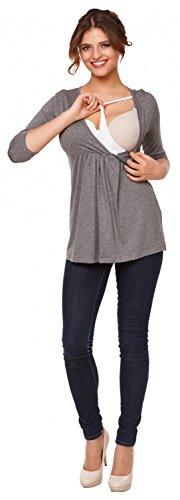 Happy Mama Damen Umstandsmoden Stillshirt in Wickeloptik Empire-Taille Top. 372p Grau Melange