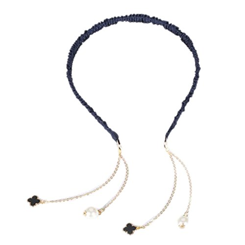 Fashion Hairpin with Beautiful False Lucky Leave Tassel Earring Headbands- Black