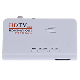 Anmyox Digital FULL HD 1080P Terrestrial TV set-top box, USB 2.0 Freeview TV Tuner Recorder, DVB-T/T2 Receiver with HDMI+ AV Out, with Remote Control (White without VGA)
