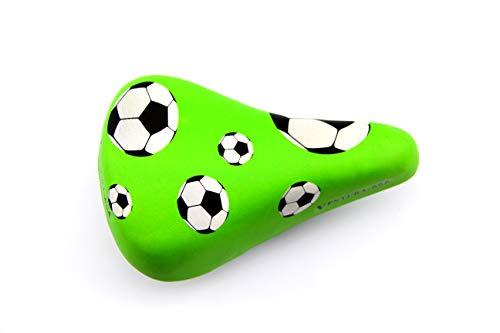BISOMO Fahrrad Kindersattel - Kinder Junior Sattel - Grün - Motiv Fußball - -