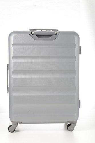 Aerolite Große Leichtgewicht ABS Hartschale 4 Rollen Trolley Koffer Reisekoffer Hartschalenkoffer Rollkoffer Gepäck , 79cm , Silber - 3