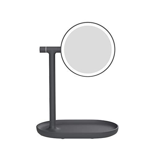 PACELK Beleuchteter Schminkspiegel, LED-Leuchten Kosmetikspiegel mit Beleuchtung und Vergrößerung (1x / 3X), Berührungssensor, beidseitige 180 ° -Drehung, wiederaufladbar, 5W,Black