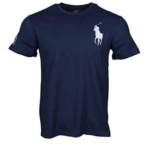 Ralph Lauren Herren T-Shirts mit Big Pony - Navy, Weiß, Grau, Pink, Hellblau, Pistazie (Navy, M) -