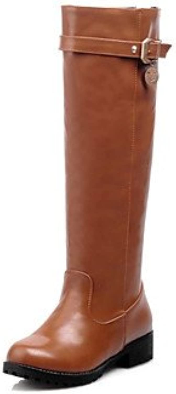 Heart&M Mujer Zapatos Semicuero Invierno Confort Botas de Moda Botas Tacón Bajo Dedo redondo Hasta la Rodilla...
