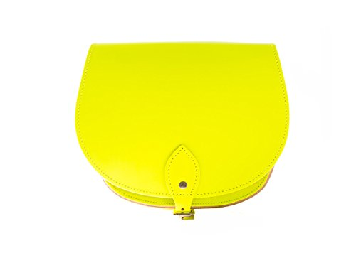Amarillo de ne—n de una silla de cuero real cuerpo de la cruz del bolso con correa ajustable y Cierre Hebilla