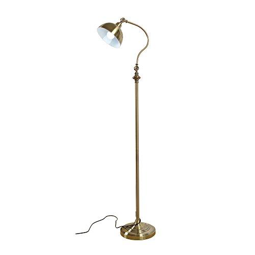 Einstellbare Eisen Stehlampen, Vintage Kreative LED Schwarz/Antik Kupfer Beleuchtung Dekoration Vertikale Stehlampe Nordic Schlafzimmer Hotel Wohnzimmer Boden Tischleuchte (Messing Antik Boden Leselampen)