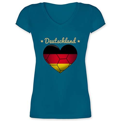 Handball WM 2019 - Handballherz Deutschland - XS - Türkis - XO1525 - Damen T-Shirt mit V-Ausschnitt
