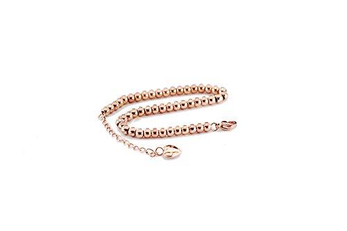 findout Damen 14K Roségold vergoldet Titan Stahl 4 mm Perlen Armbänder, für Frauen Mädchen (F1386)