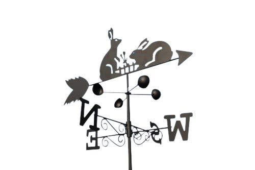 GardenMarketPlace Wetterfahne aus Stahl mit Erdspieß und Wandbefestigung