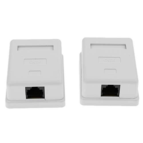 H HILABEE 2Pcs 1 Port Cat6 RJ45 Netzwerk Enternet Kabel Wall Surface Mount Compact Box Surface Mount Wall Jack