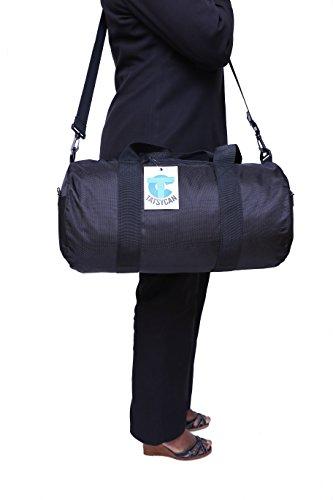 Leichte, Wasserfeste, faltbare Mehrzwecktasche in Tonnenform für Reisen, Fitness, Sport, Wochenend-Trips mehrfarbig schwarz / grau Schwarz/Schwarz