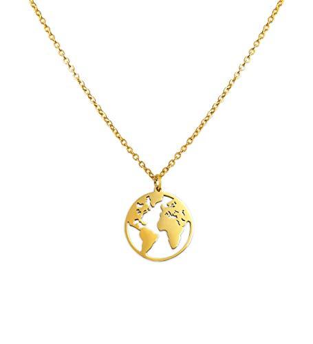 LUAMAYA Damen Boho Halskette | Verschiedene Edelstahl Ketten in Gold, Silber und Roségold | Globus, Coins, Plättchen, Layer, Weltkugel, Coins (Anam Gold)