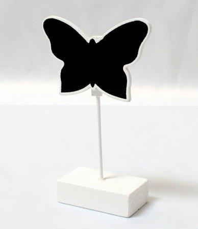 Schmetterling Tischkartenhalter Kreidetafel in weiß–6Stück (Vintage Karte Tischset)