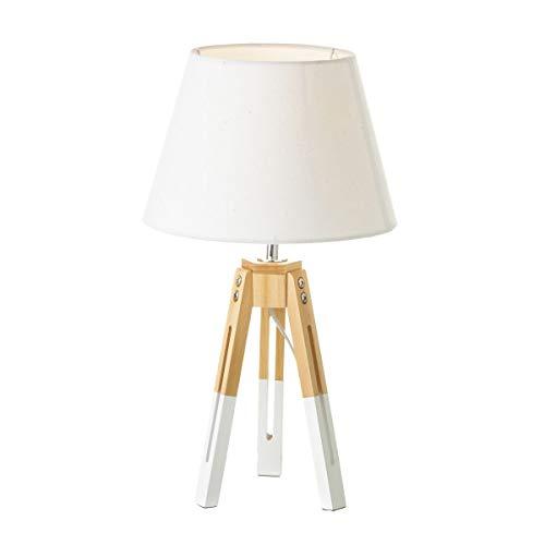 Lámpara de sobremesa nórdica Blanca de Madera para salón Vitta - LOLAhome