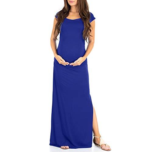 Bfmyxgs🍓Mutterschaft Kleid Schwangere Frauen Kurzarm Casual Solid Color Split Schwangerschaftskleid
