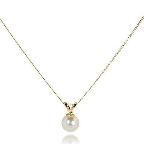 Preisvergleich Produktbild 9 Karat Gold 6mm Simulierter Perle Anhänger | Kettenlänge: 18 Inches (45,7cm)