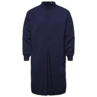 Ai.Moichien Men's Grandad Collar Long Sleeve Nightshirts Plain Cotton Knee Length Shirts Navy Blue L