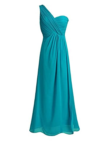 iiniim Women One-shoulder Chiffon Bridesmaids Dress Evening Prom Long Gown Ruched Split Side Maxi Dress Teal