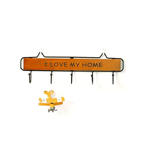 Sforza Haken Rack, Holz Wand Moderne Hohe Qualität Mantel Hut Regal Kleiderbügel Schlüssel Rack für Badezimmer Haus - Braun