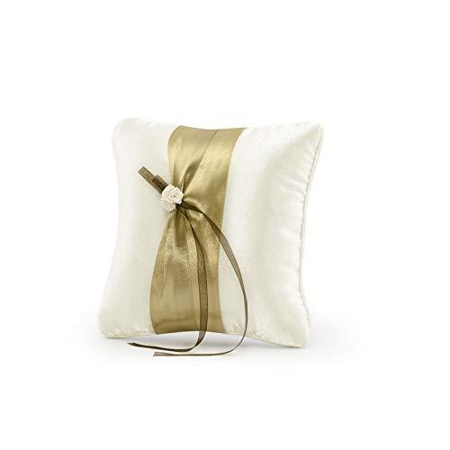 Ringkissen creme mit Band gold-beige + braun , Rose creme, 20x20 cm