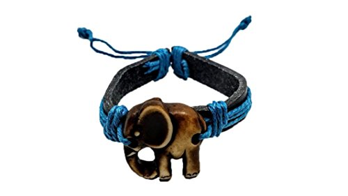 New York Schwarz Leder (feng shui collection NEW YORK Elefant Armband - Schwarz/Blau Leder Armband - Indischer Elefant Armband)