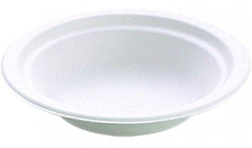 50 Bio Schalen, Holzschliff 200 ml Ø 14 cm · 4 cm weiss Chinet Holzgusschalen / Chinet Dessert-Schalen / Einweg Schalen, hochwertig, kompostierbar Suppenschale