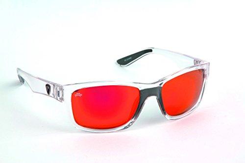 Fox Rage Sunglasses - Polarisationsbrille zum Spinnfischen & Fliegenfischen, Polbrille zum Angeln, Angelbrille zum Raubfischangeln, Modell:Transparenter Rahmen/Rote Gläser