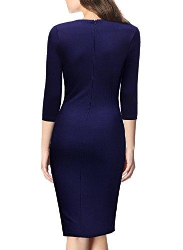 Miusol Vintage Kleid Karree-Ausschnitt 3/4 Arm Cocktailkleid Business Kleid, Blau - 2