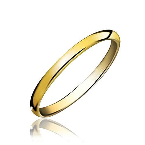 Bling Jewelry Einfache Schmal Stapelbar Paare Hochzeitsband Poliert 14K Vergoldete Tungsten Ringe Für Herren Für Damen 2 MM -