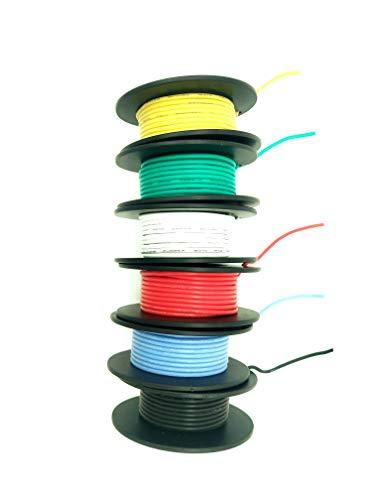 Flexibler Silikondraht - KALULU Elektrische Leitungen 22 Gauge Weich und Flexibel verzinnter Kupferdraht Hohe Temperaturbeständigkeit (6 verschiedene farbige 6M Spulen) 3000V (22AWG) -