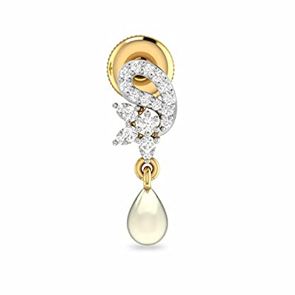 PC Jeweller The Qeturah 18KT Yellow Gold and Diamond Stud Earrings for Women