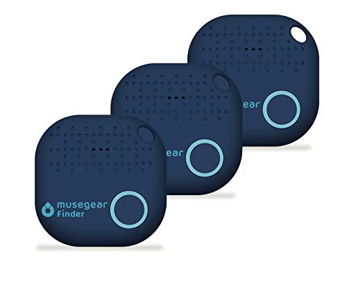 musegear® Schlüsselfinder mit Bluetooth App I 3er Pack I Version 2 I Keyfinder laut für Handy in dunkelblau I GPS Ortung/Kopplung I Schlüssel Finden