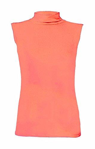 Elum ® Femmes Plaine Polo Cou Sans Manches Haut Corail