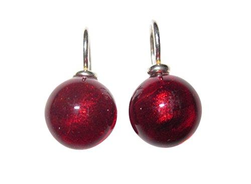 Ohr-Hänger Ohrringe Murano-Glas Perle rot 12 mm Durchmesser rund Sterling-Silber 925-er Goldschmiede-Arbeit Unikat Handarbeit