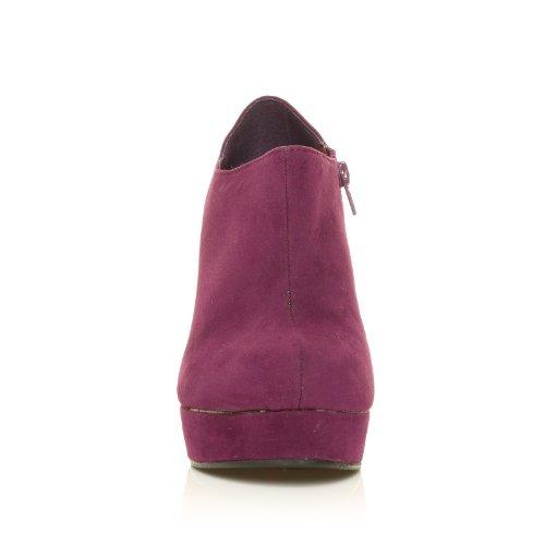 Escarpins bottines compensés talon très haut faux daim H051 Daim violet