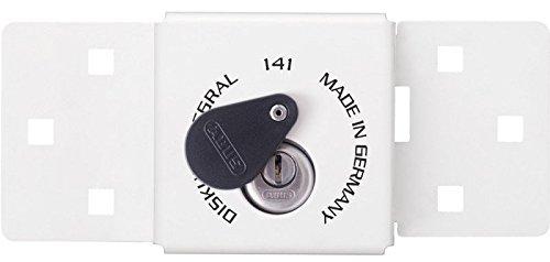 Abus 200 + 25/141/70 Cadenas Diskus W-Cierre universel avec clé pour véhicule utilitaire points intégré Blanc