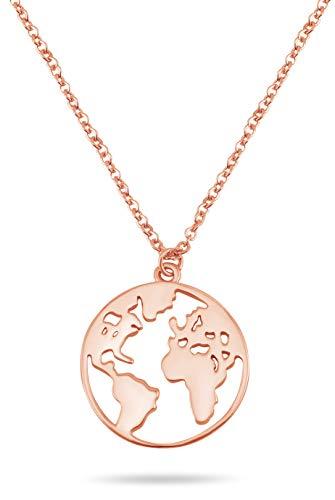 Nuoli® Weltkugel Kette Damen (45 cm) 925 Sterling Silber Weltkarte Halskette, erhältlich in Silber, Gold und Rosegold