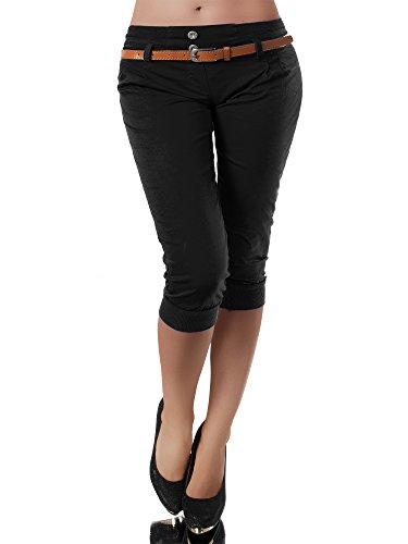 Diva-Jeans N945 Damen Stoffhose Chino Capri Hose Sommerhose Pumphose Gürtel Normaler Bund, Farben:Schwarz, Größen:M