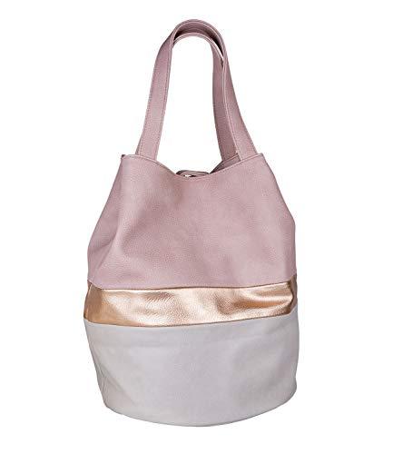 SIX Große Beuteltasche: Shopper-Stil, zarte rosa Töne mit schimmernden metallic Details, Druckknopfverschluss, veganes Leder (726-767) (Rosa Und Gold Handtasche)
