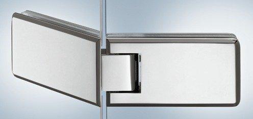 gedotec® Ruban Vita Verre porte de porte de douche a pour portes en verre et Douches–Charnière Cabines de douche pour épaisseur de verre 8–12mm–porte en verre avec fermeture automatique Ruban & Angle d'ouverture 135°–Laiton Chromé poli–Produit de qualité pour votre intérieur