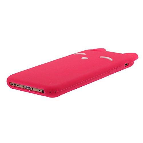 iPhone 6S Plus Coque Case Charmant Animal Renard Sourire Forme Serie Doux Silicone Mince Poids léger Etui Apple iPhone 6 Plus 6S Plus 5.5 inch avec 1 pendentif rouge